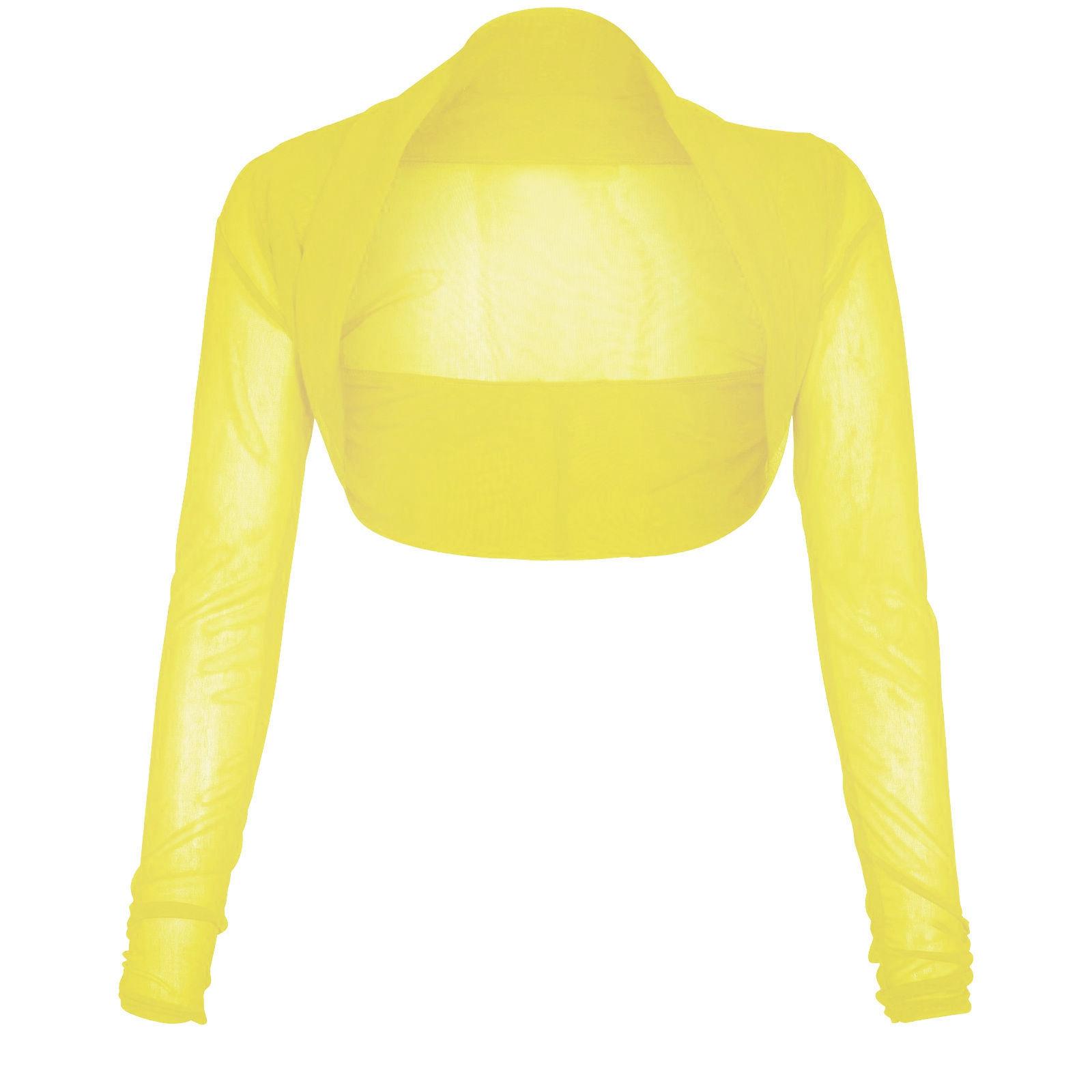 New Ladies Long Sleeve Cropped Bolero Shrug Sheer Mesh Cardigan 8 ...
