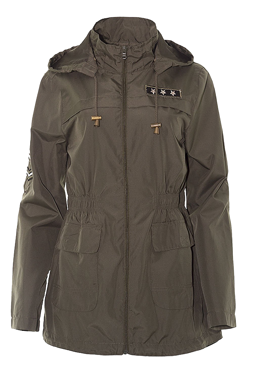 New Womens Festival Mac Army Badge Hooded Kagoul Fishtail Raincoat Jacket 18-24