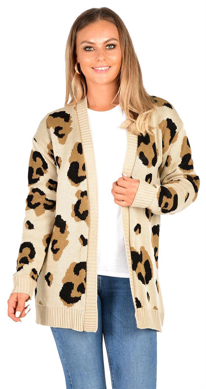 GeeGee Leopard Long Open Knit Jacket