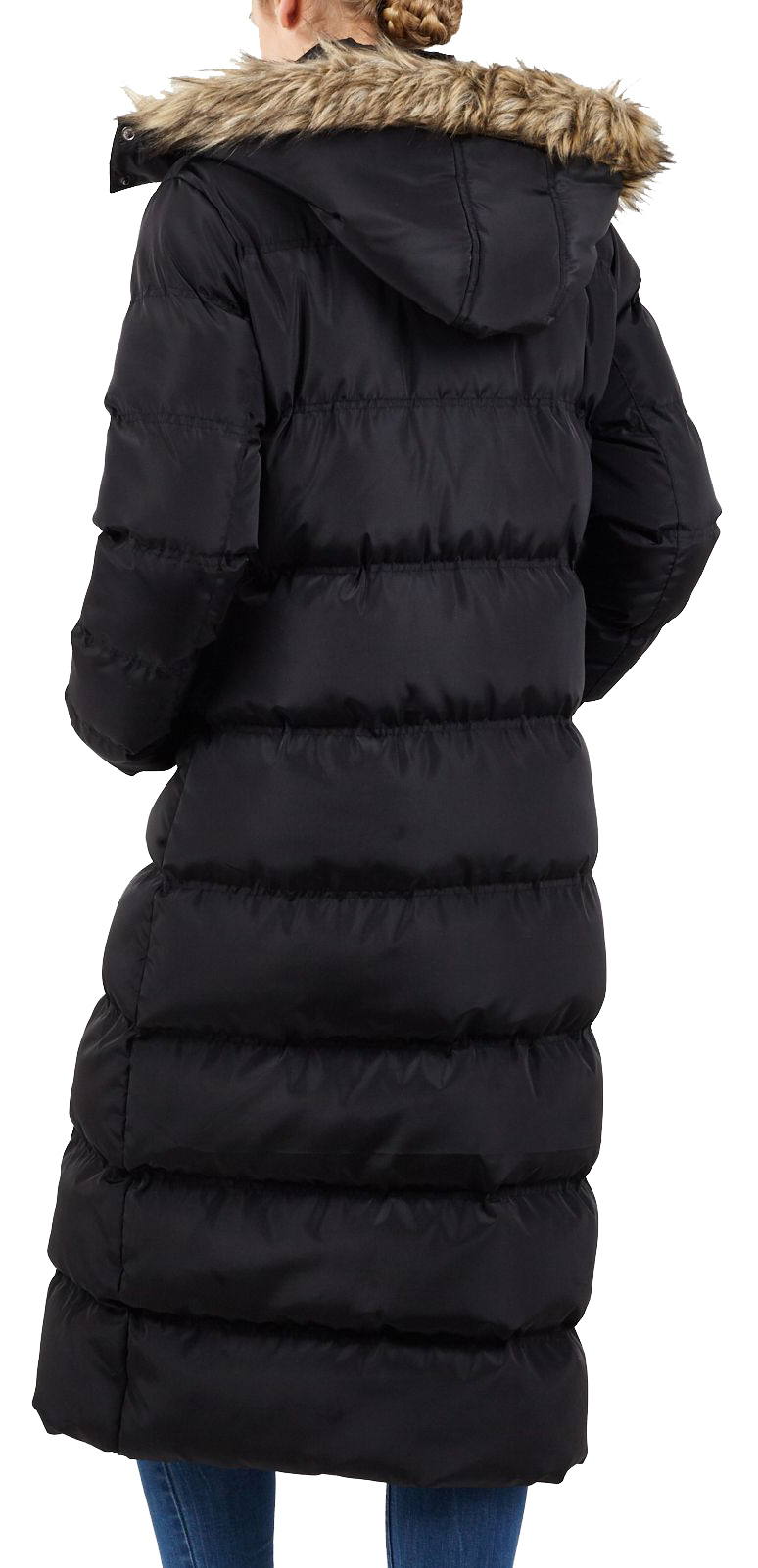 Ladies Long Maxi Short Warm Winter Puffer Jacket Faux Fur