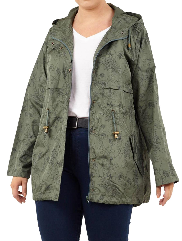 68be1ea8f New Womens Plus Size Tonal Floral Print Hooded Mac Rain Coat Jacket ...