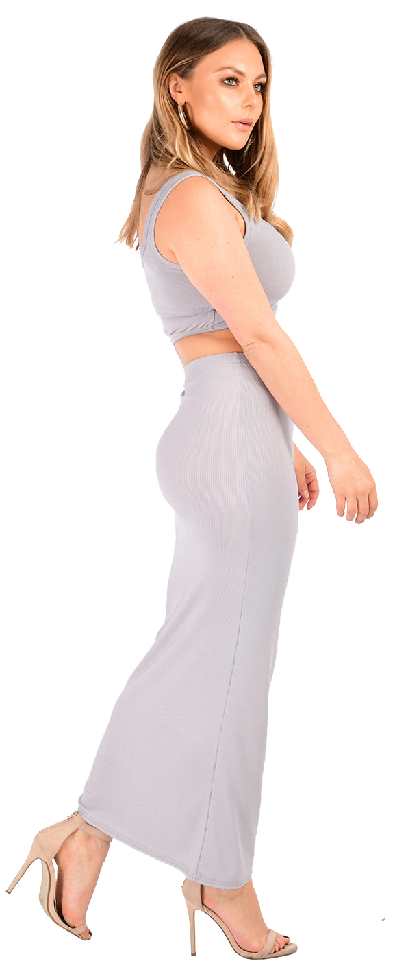 new ladies ribbed two piece crop top long pencil skirt co