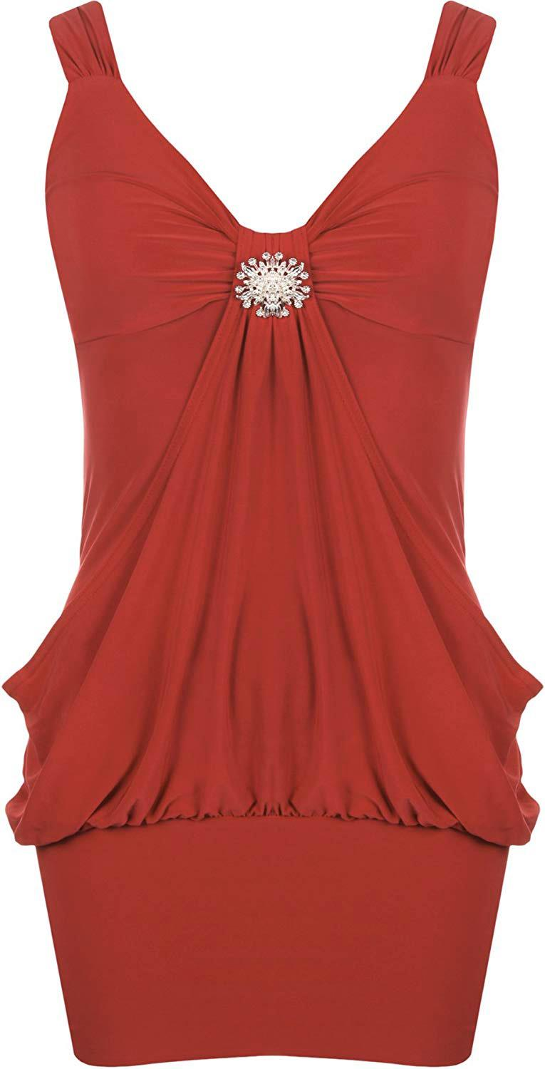 Womens Plus Size Diamonte Broach Detail Drape Dress Evening Party 8//10, Red