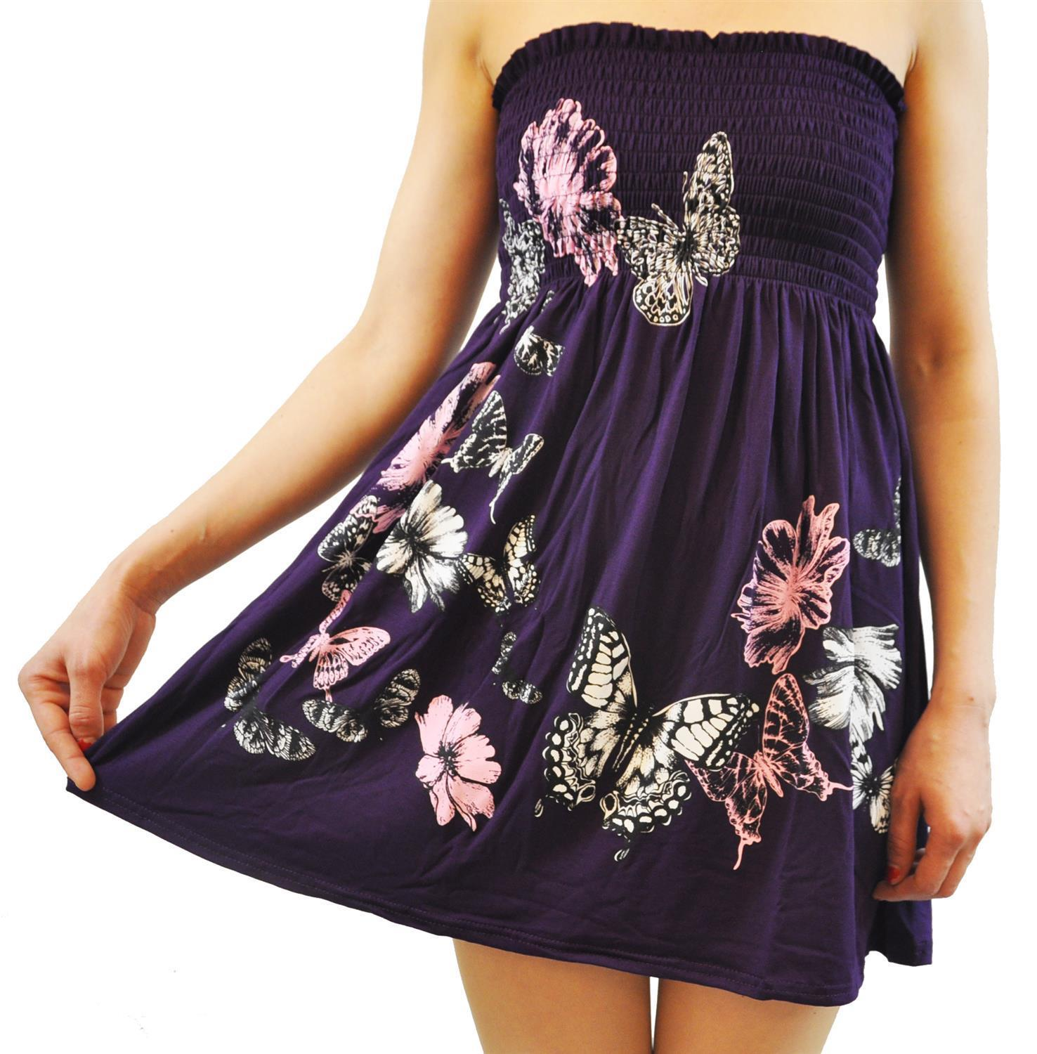 cec1484c192 New Womens Plus Size Purple Floral Leaves Sheering Strapless Boob Tube Mini  Tops. From £ 8.99