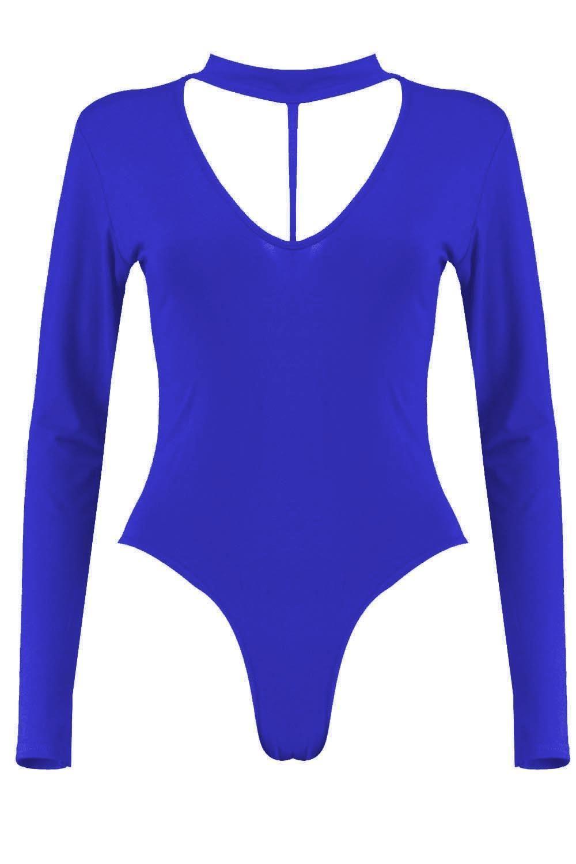 New Womens String Front Dori Chocker V Neck Split Strap Leotard Bodysuit Top