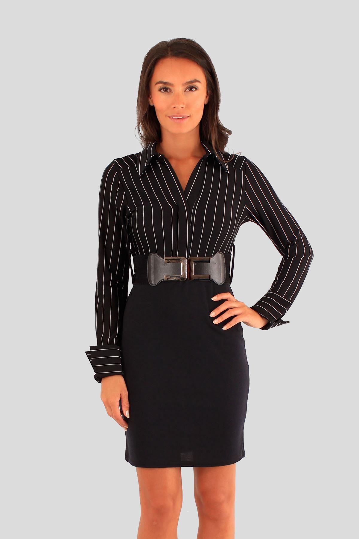 New Ladies 2in1 stripy shirt mini belted Skirt Dress 8-14