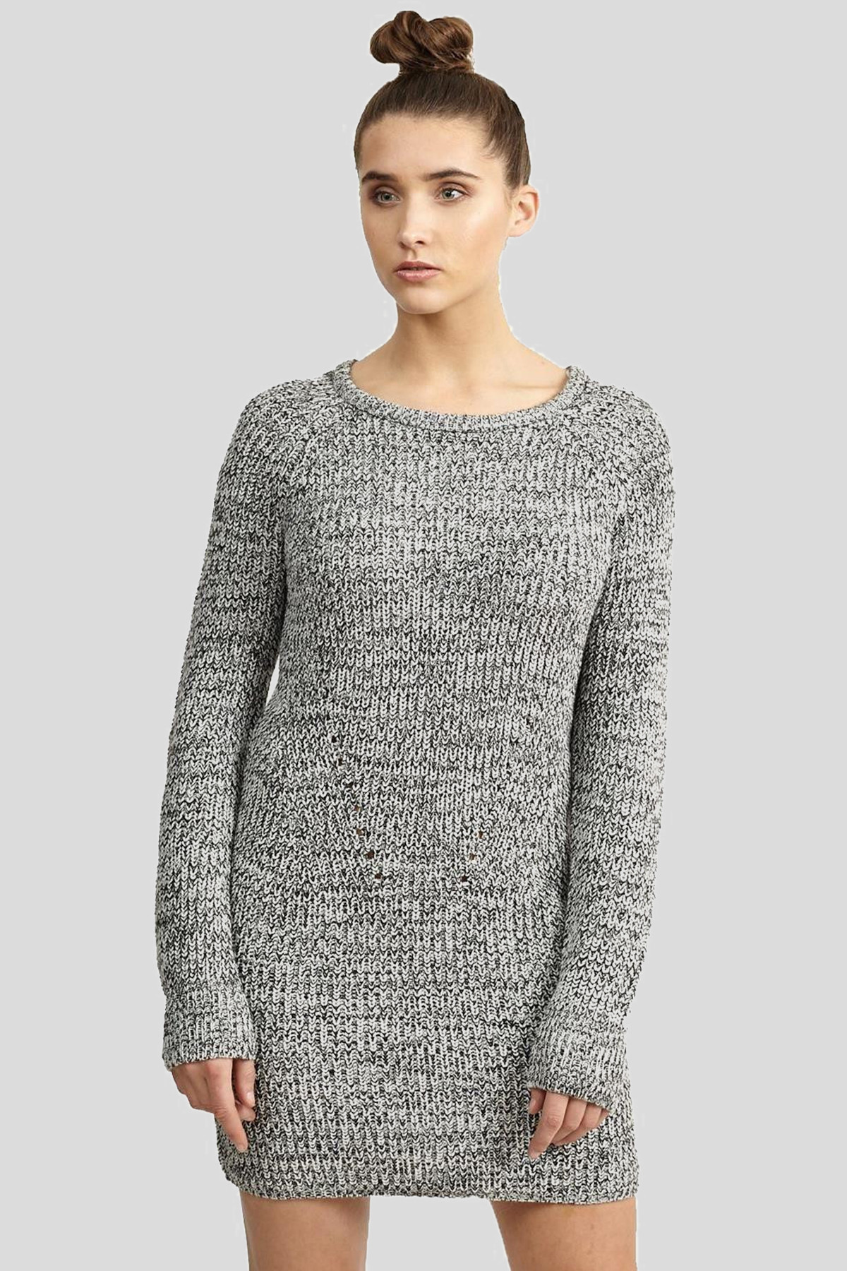 New Ladies Ribbed Thermal Winter Knitwear Pullover Jumper Sweater Dress 18-24