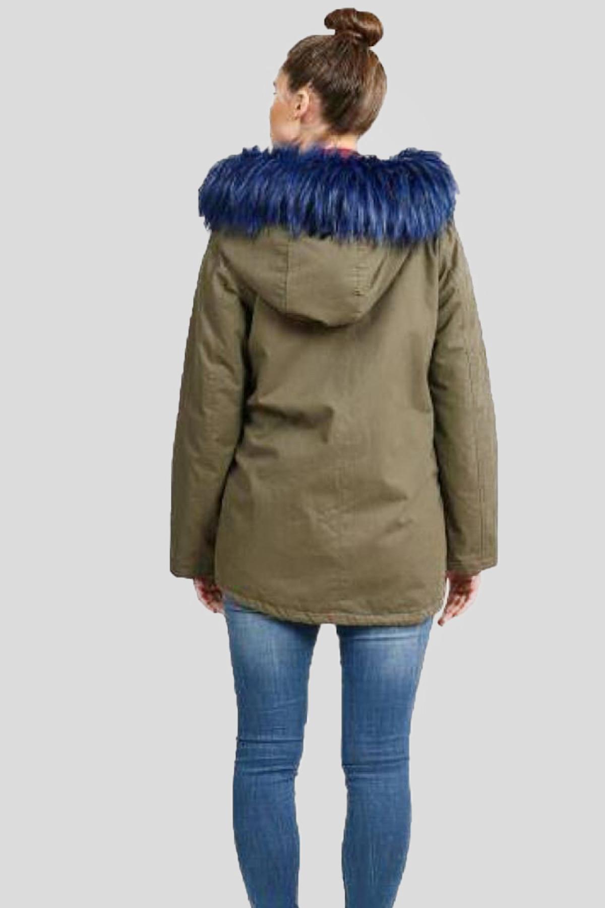 Plus Blue Cropped Faux Fur Hooded Coat