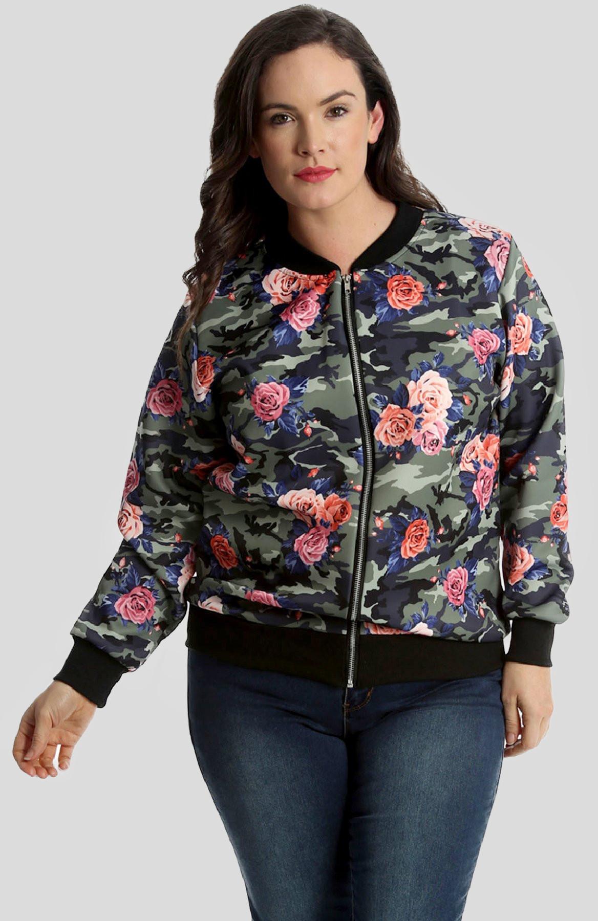 Paisley Zip Up Bomber Jacket Coat Ribbed Top Plus 14-28 Ladies Women/'s Floral