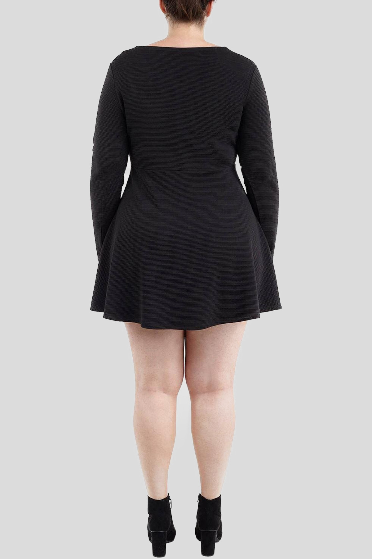 Lisa Plus Size Long Sleeve Zipper Skater Dress 16-22