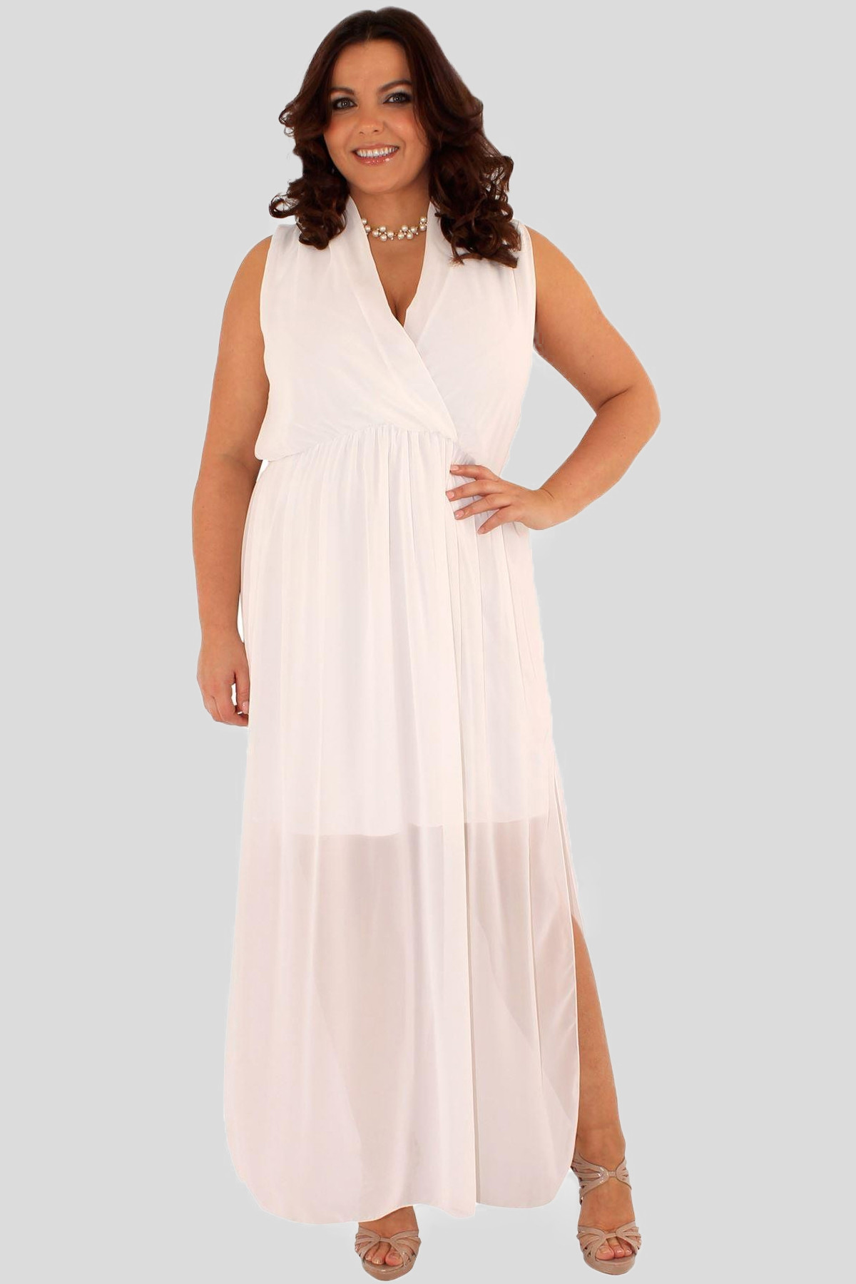 7112f14a579a Molly Plus Size Wrap Front Chiffon Maxi Dress 16-26 - Plus Sizes
