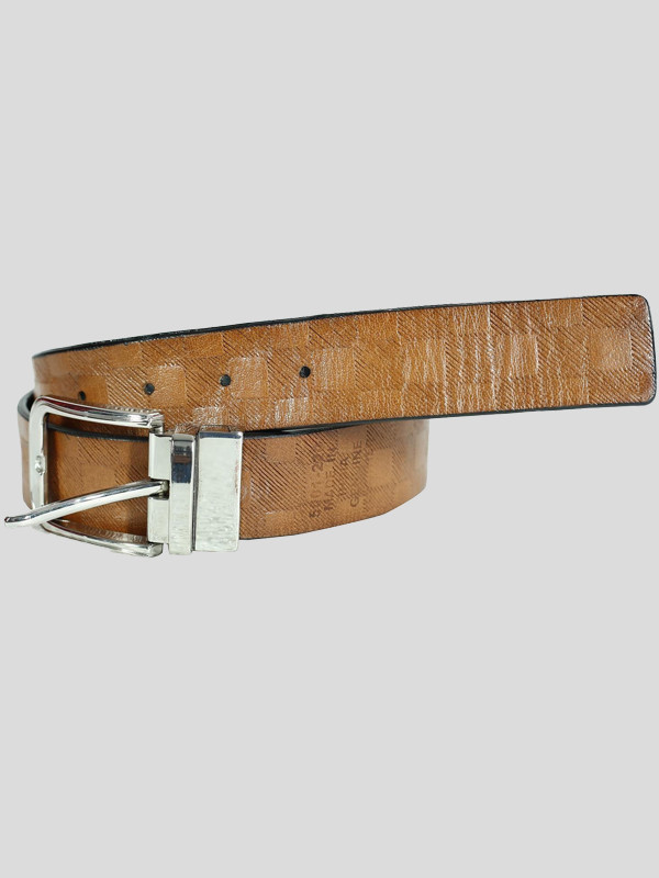 Mens Tan Textured 35 mm Wide Classic Genuine Leather Buckle Belts s-3xl
