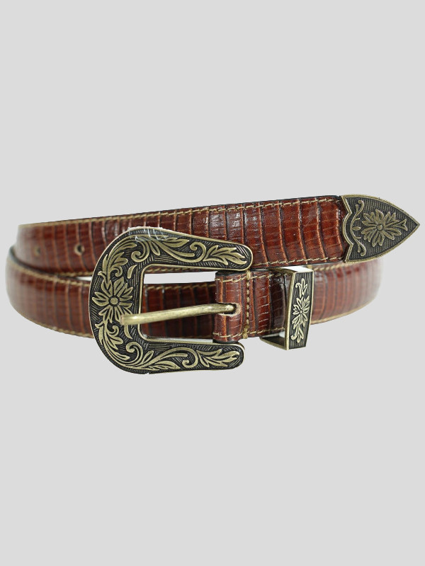 Ladies White Crocodile Textured Silver Oval Buckle Premium Leather Belts M-4XL