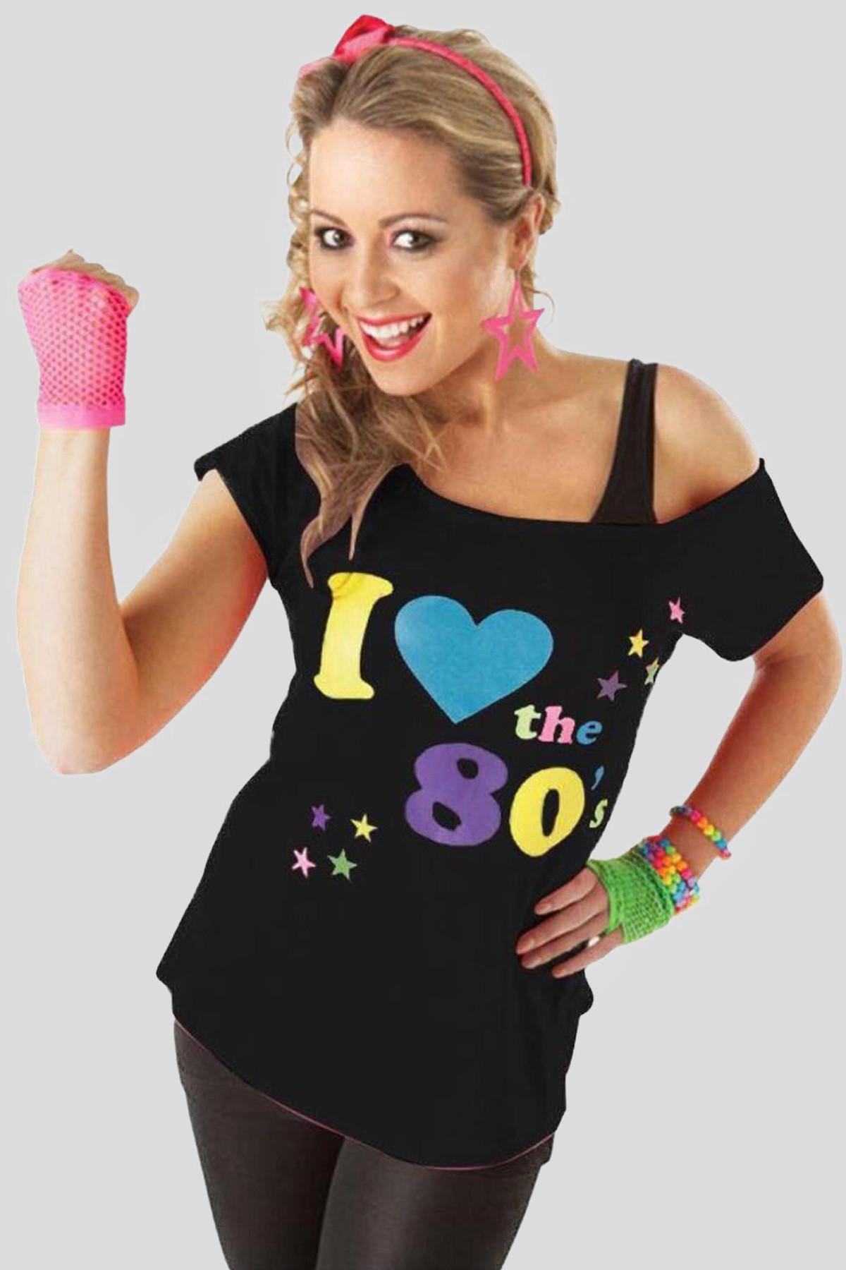 16aaf2df7a5 Clover I Love The 80s Pop Star Retro Print Fancy Top 8-14