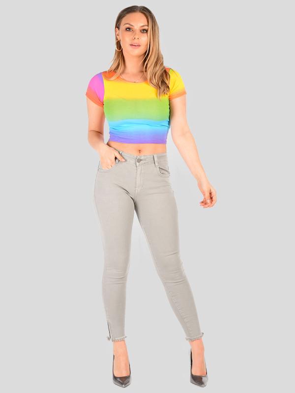 Gloria Ombre Rainbow Striped Fade Multi Colour Crop Top 8-14