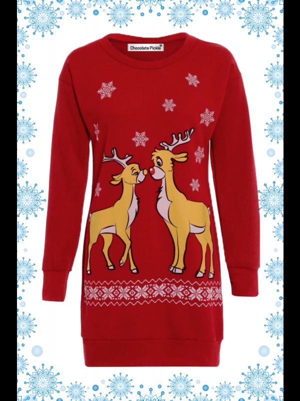 96f31713e1c Meadow Plus Size 2 Reindeer Print Xmas Jumper 16-22