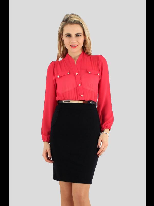 Davina Chiffon Gold Belated Business Dress 8-14