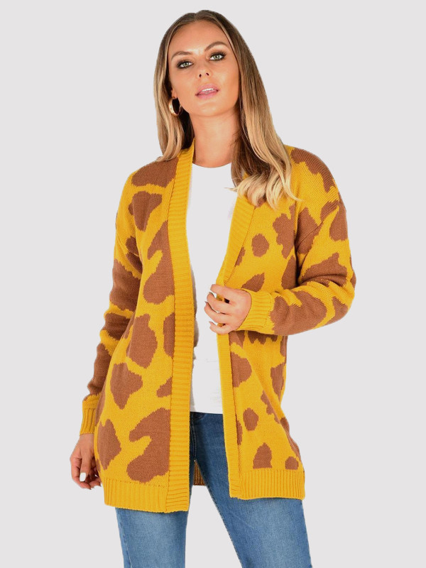 ALIYAH Leopard Print Open Front Knitting Cardigan 8-14
