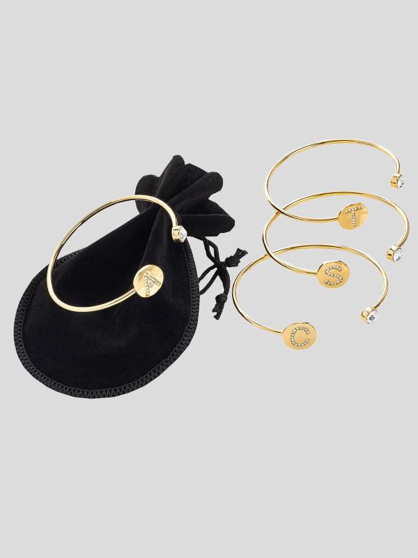 A-Z Gold Colour Crystal Letter Design Bracelet Accessories