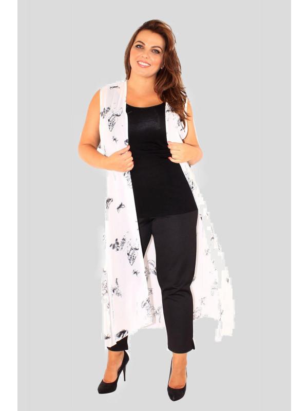 Ayla Plus Size Butterfly Print Chiffon Maxi Waistcoat 16-26