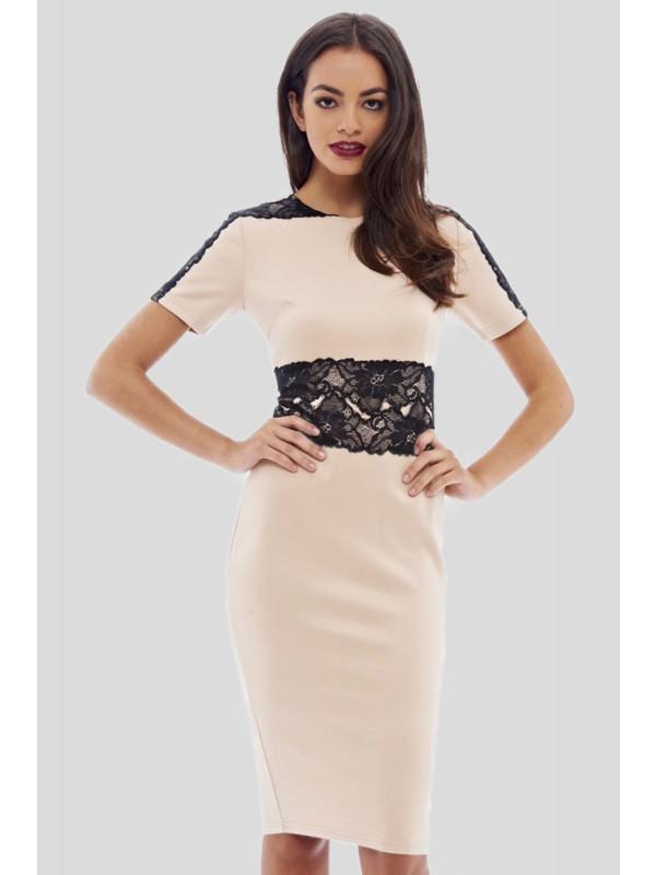Alanna Plus Size Lace Waist Cocktail Tunic Bodycon Midi Dress 16-26