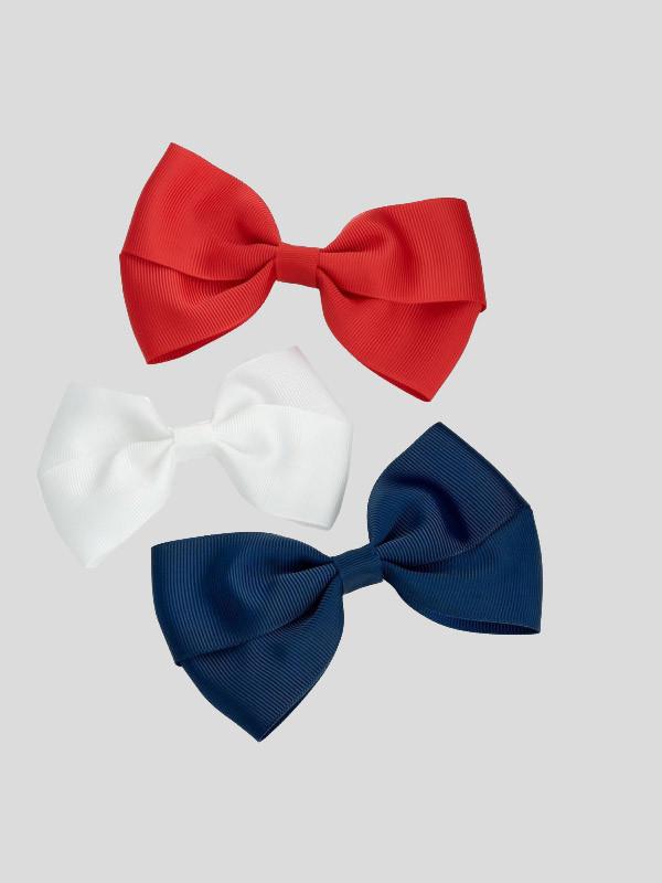 Aleah Three Piece Plain Design Ribbon Bow Hair Clip
