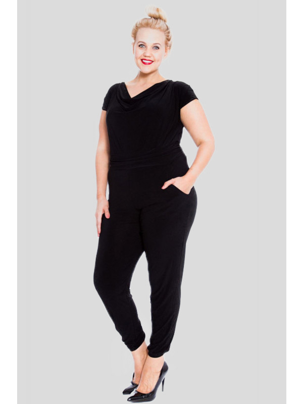 Alice Plus Size Black Cap Sleeve Jumpsuit 16-28