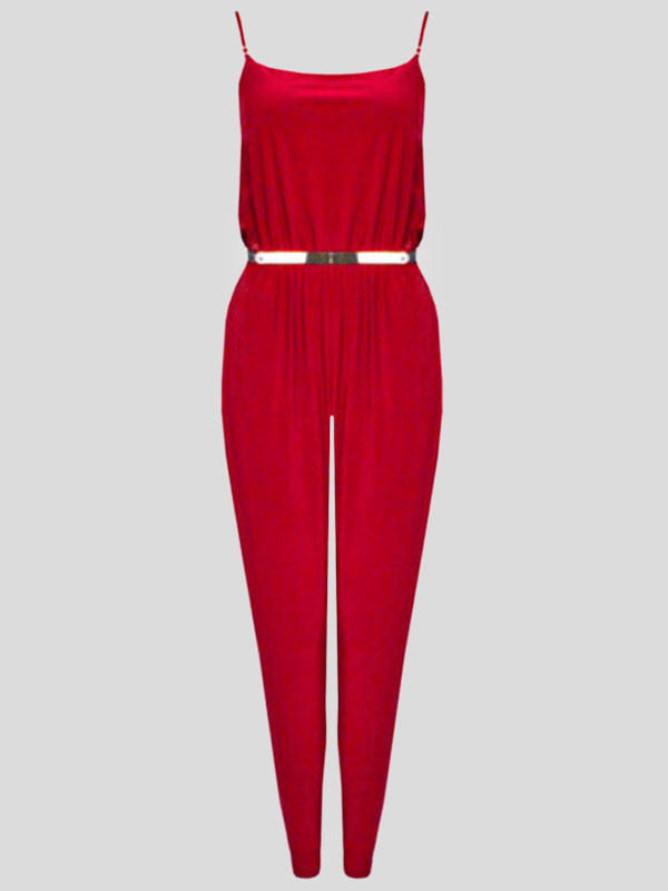 Lyla Plus Size Strap Belted Jumpsuit Camisole Playsuit 16-22