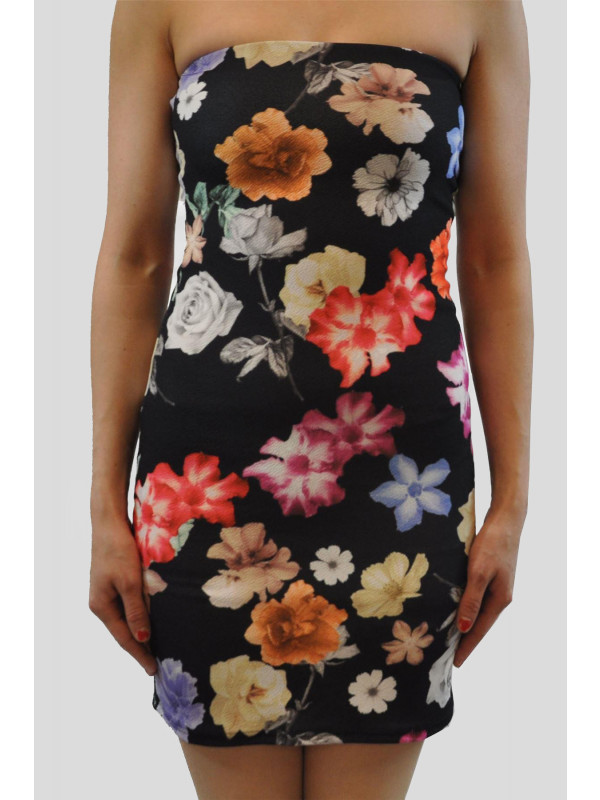 CASSIE Black Floral Bodycon Dress 8-14