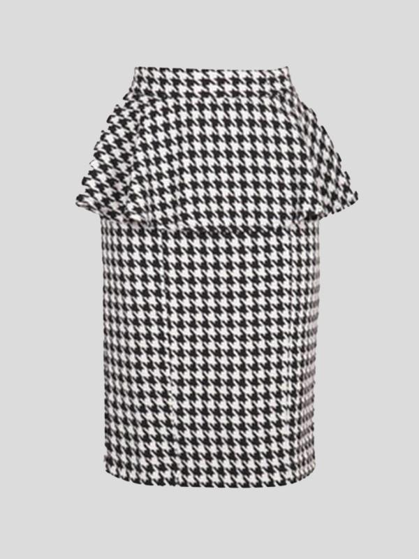 AMAL Plus Size Dogtooth Peplum Skirts 16-18
