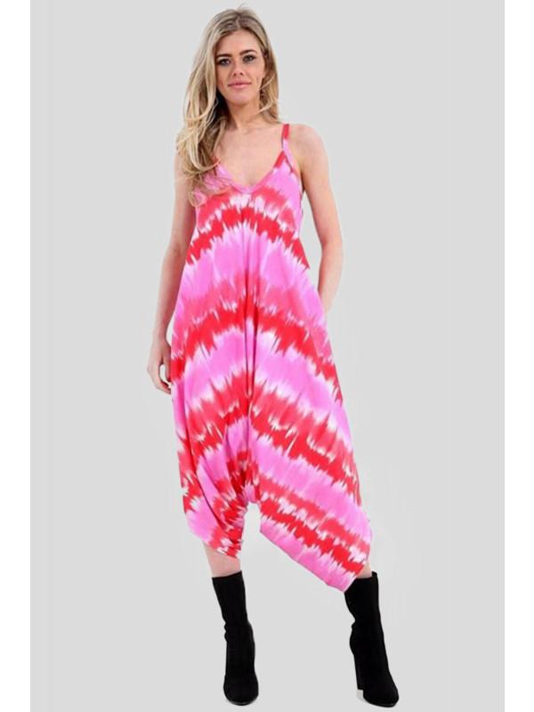 Amber Plus Size Pink Tye Dye Printed Lagenlook Jumpsuit 16-26