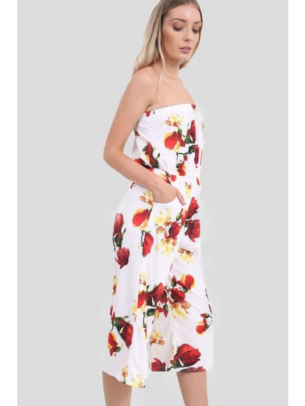 Anna Plus Size Cream Floral Bardot Jumpsuit 16-26
