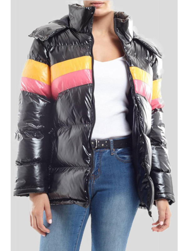 Aurelia Contrast Colour High Shine Hooded Jacket 8-16