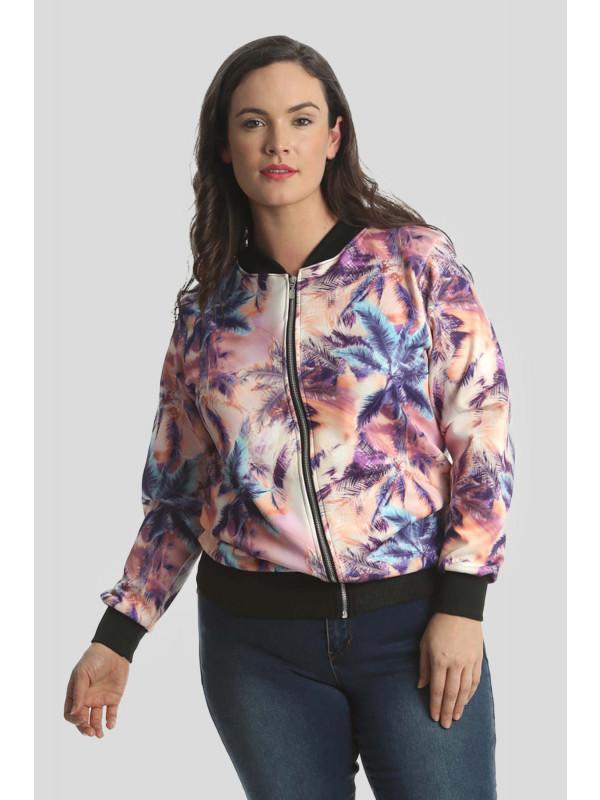 Raya Plus Size Zip Up Ribbed Bomber Blazer Jacket 16-18