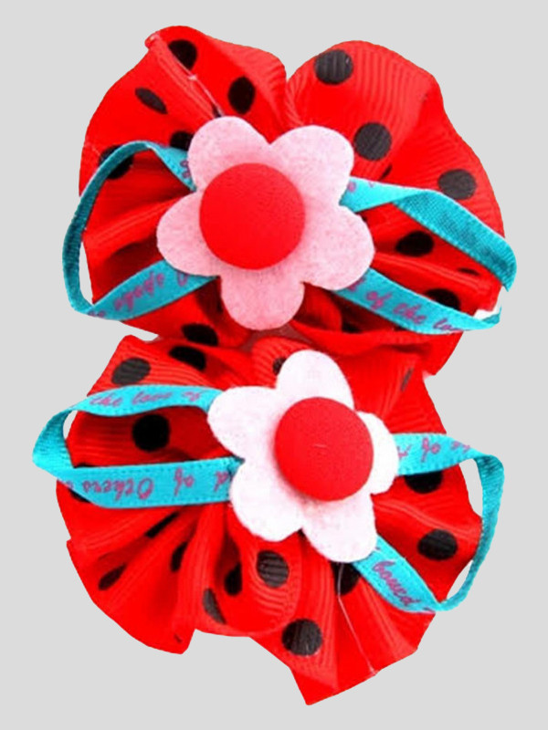 Bella Polka Dot Poppy Flower Girls Hair Clips