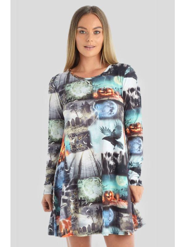 DAISIE Halloween Grey-Graves Owl Print Swing Dress 8-14