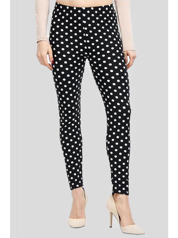 ASTRID Black Polka Dot Print Leggings 12-14