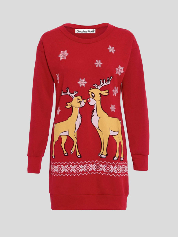 Meadow Plus Size 2 Reindeer Print Xmas Jumper 16-22