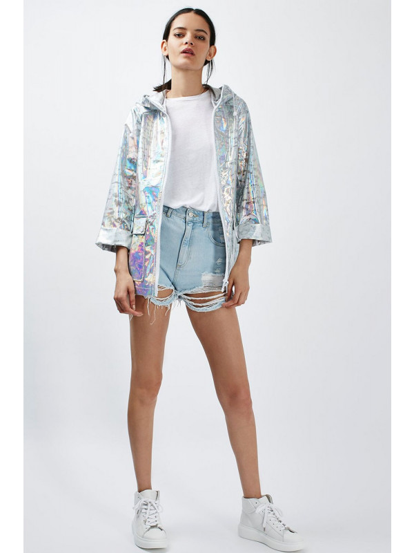 Bryony Glitter Holographic Hooded Raincoat 8-14