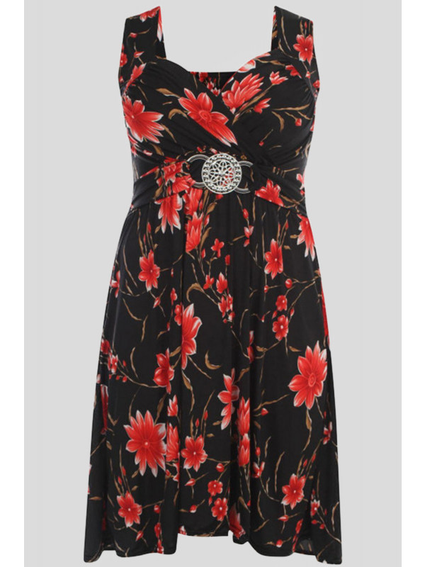 MACEY Plus Size Floral Buckle Knee Length Dress 16-26