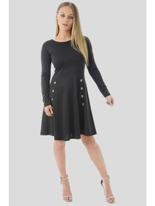 Amal Military Button Skater Dress 8-16