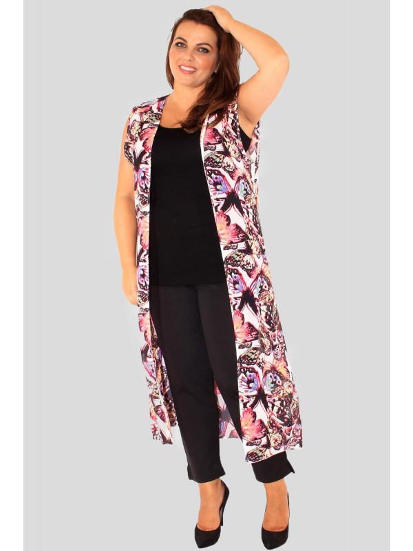 Cerise Plus Size Butterfly Chiffon Maxi Waistcoat 16-26