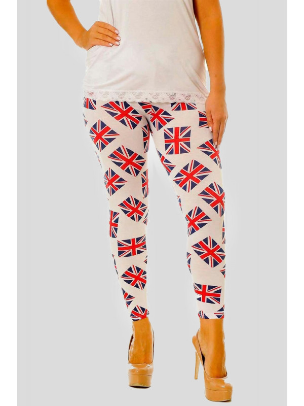 Charlotte Plus Size Union Jack Print Leggings 16-26