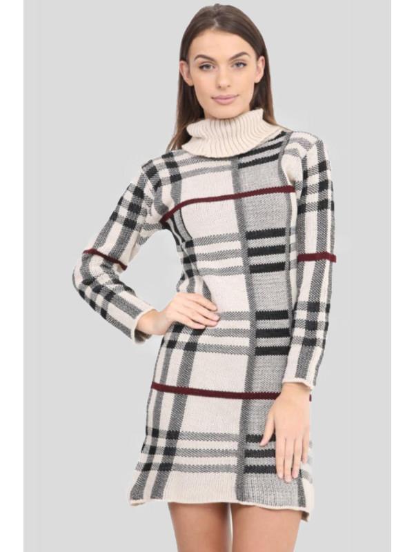 Ciara Knitted Tartan Check Midi Bodycon Jumper Dress 8-14