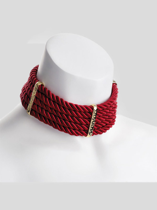 Daisy Gold color Platted design Red Cord Choker Necklace