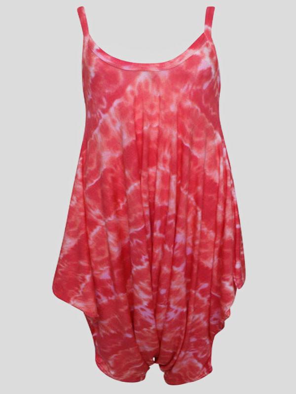 Daisy Plus Size Red Tye Dye Printed Baggy Lagenlook Jumpsuit 16-26