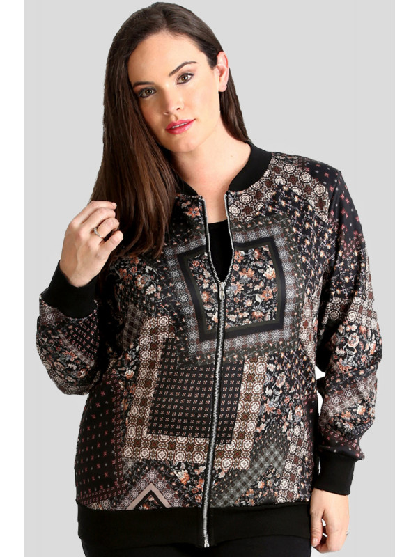 Enid Plus Size Multi Pattern Paisley Print Jacket 16-24