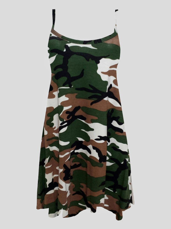 Dottie Green Army Print Swing Dress 8-14