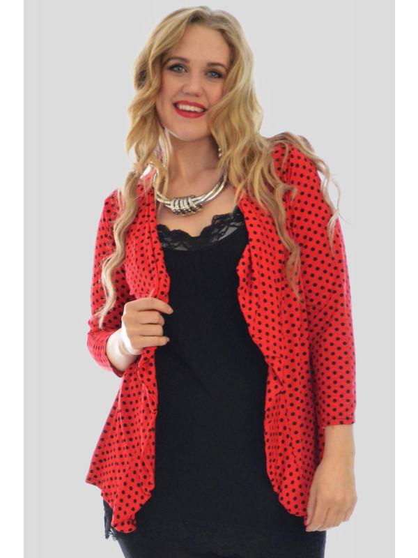Elise Plus Size Red Polka Dot Cardigan Tops 16-26