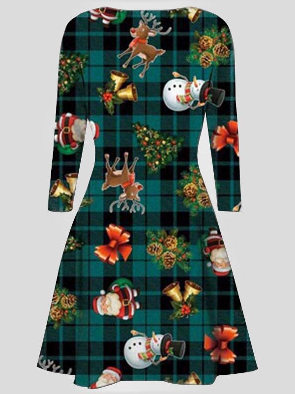 EMA Plus Size Xmas Santa Gift Bells Print Flared Swing Dress 16-30